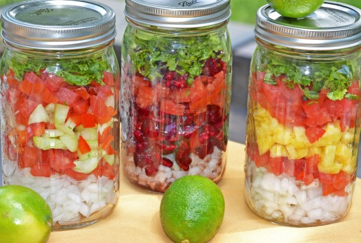 I used mason jars to divide the ingredients. I gave half of the salsa to my neighbors and kept the rest for myself :)