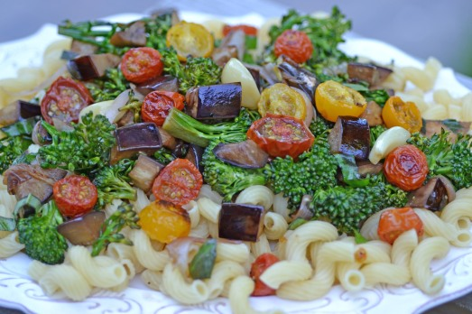 cavatappi with eggplant, roasted tomatoes and broccolini